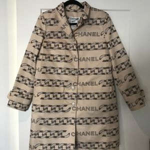 Vintage Chanel Chain Print Trench Coat Size 40FR